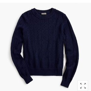 J Crew Point Sur Pointelle Crewneck Sweater